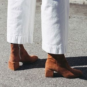 Vintage Diba Leather Ankle Square Block Heels
